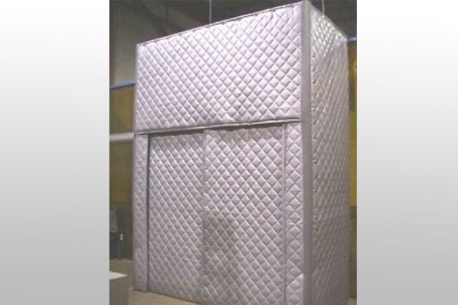 Quilted absorber barrier curtain panels for noise control - Exterior noise barrier materials ...